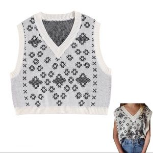 Sweaters - white knitted sweater vest